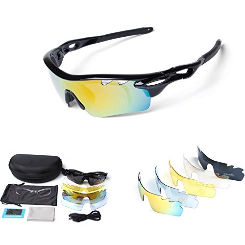 Polarized Sports Sunglasses for Men Women Cycling Running Driving Fishing Golf Baseball with Tr90 Unbreakable Frame,5 Interchangeable Lenses … (New - Sunglasses Seen