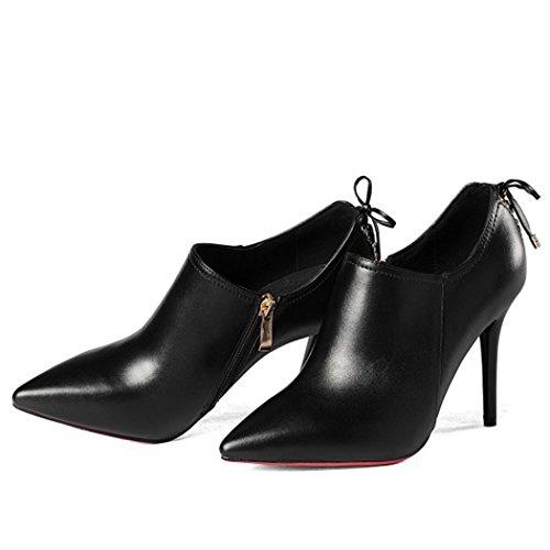 GAOLIXIA Zapatos de Mujer de Tacón Alto Puntiagudos Talones de Estilete de Moda Cremallera Lateral Zapatos Solteros Zapatos de Carrera de Trabajo Banquete de Boda Zapatos de Banquete Tamaño Negro