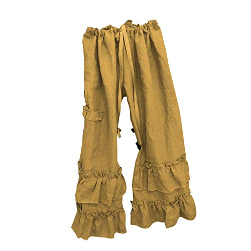 Plus Size Solid Cotton Linen Folds Pants Womens Casual Ruffled Loose Pocket Yellow