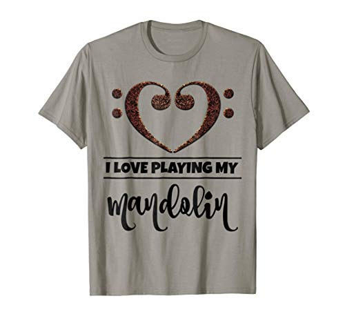 Double Bass Clef Heart I Love Playing My Mandolin Music Lover T-Shirt