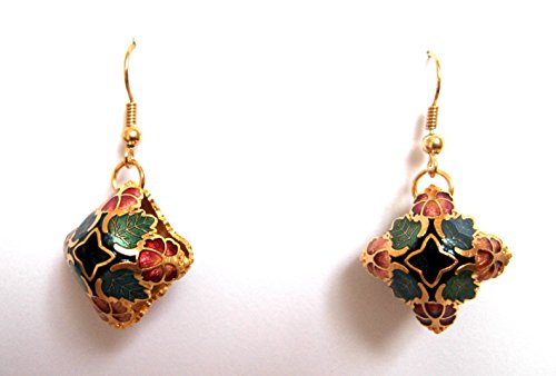 Diamond Floral Shapes Earrings - Genuine Cloisonne 3D floral diamond shape earrings, special fashion design, delicately made. Fishhook, sold as a pair. Base metal