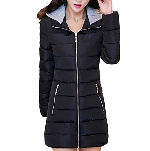AGAING Simplicity Black Cotton XL Women's Basic Hooded Longline Slim Fit Down TztrTx