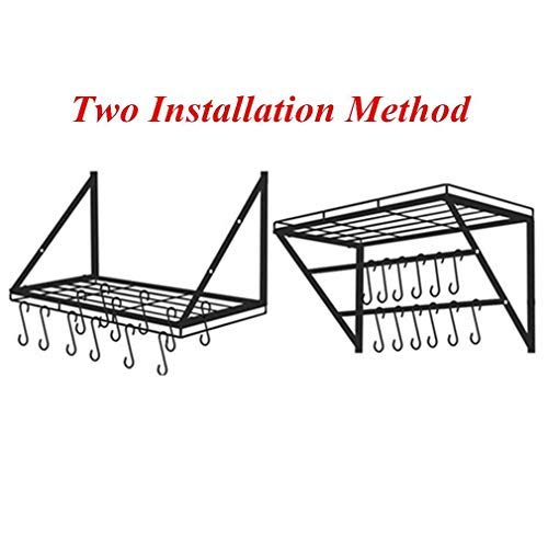 Oropy Wall Mounted Pot Rack Storage Shelf with 2 Tier Hanging Rails 12 S Hooks included, Ideal for Pans, Utensils, Books, Plant Black by OROPY (Image #5)