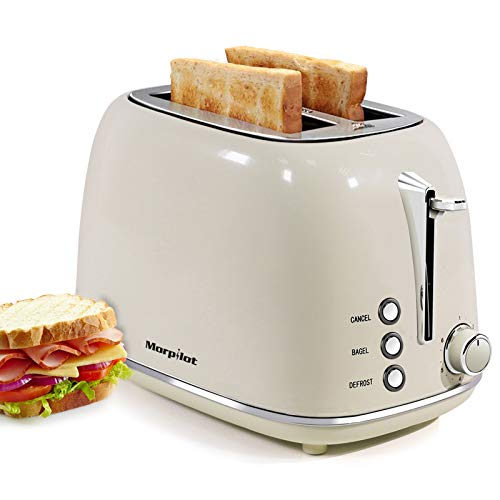 Toaster 2 Slice, Stainless Steel Toaster Retro Wide Slot, Bagel, Cancel, Defrost Function, 6 Shade Settings , Removable…