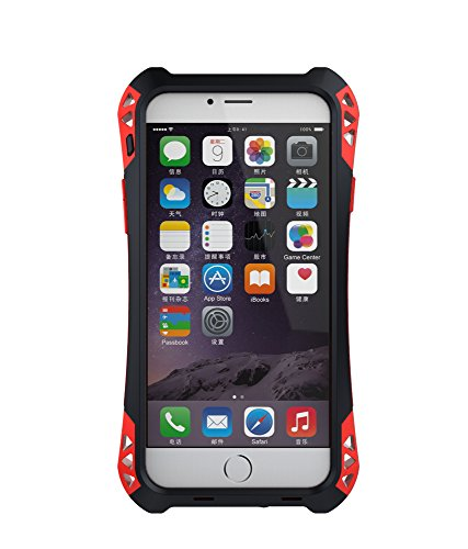 R-JUST Case for iPhone 6/6s Plus 5.5 inch Screen Extreme Aluminum Premium Shockproof/Dustproof/Water-resistant Cell Phone Casing Cover Protection System with Durable Glass Film (Black/Red) by R-just
