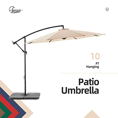 Best Wikiwiki Offset Umbrella 10ft Cantilever Patio Umbrella Hanging Market Umbrella Outdoor Umbrellas with Crank  Cross Base(Beige)