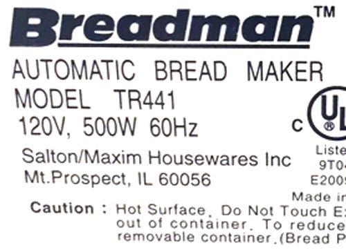 partsblast Pan máquina remo para Breadman tr441, tr-441 amasar ...