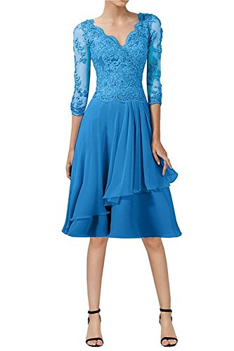 Knielang A Damen Kurz Blau Abendkleider Charmant Promkleider Linie Spitze Festlichkleider Brautmutterkleider SUx8xZwE