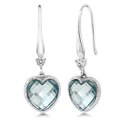 Aquamarine Dangling Earrings (Sterling Silver Heart Shape Checkerboard Created Aquamarine Dangle Earrings (4.60 cttw, 12MM))