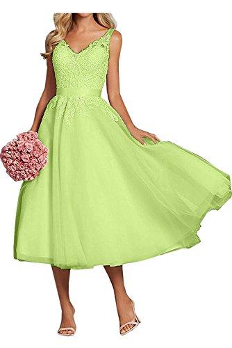 Ausschnitt Gruen Promkleider V La A Rock Abendkleider Braut Pink Spitze Damen Wadenlang Festlichkleider Lemon mia Linie Ballkleider wSYqa