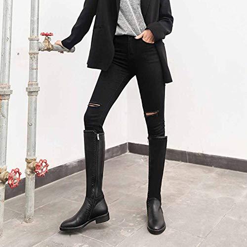 Rotondo Pelle Miss Li Ginocchio Donna In Black Invernali Stivali Da Piatto Il Con Fondo Sopra fgn1fH