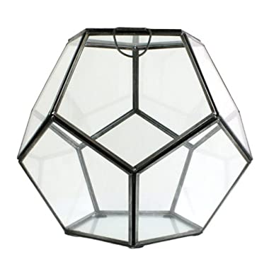 HomArt Pierre Faceted Glass Terrarium, Small, 1-Count