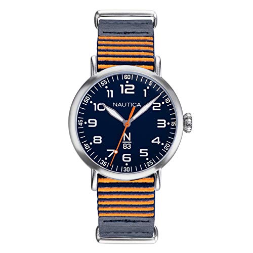 Nautica N83 Men's NAPWLS901 Wakeland Blue/Orange Stripe Leather Strap Watch ()