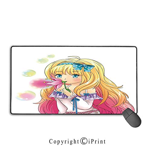 Gaming Mouse pad,Anime,Cute Manga Girl Blowing Bubbles from a Flower Japanese Cartoon Artsy Japan Art Print,Pink Yellow, Suitable for Offices and Homes, Mouse pad with Lock,9.8