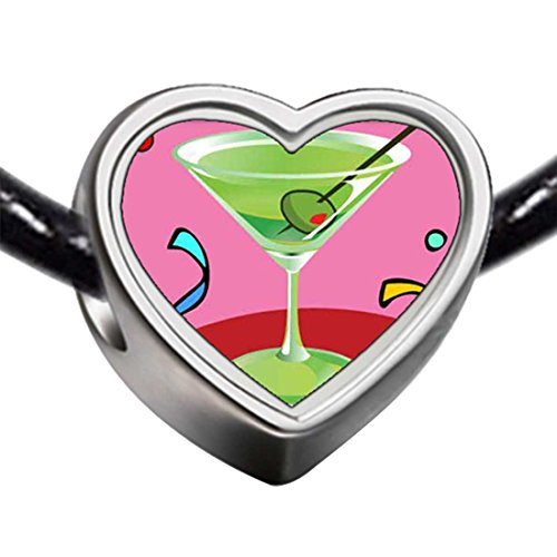 (GiftJewelryShop Silver Plated Goblet Photo Heart Charm Beads Bracelets European Bracelets Compatible)
