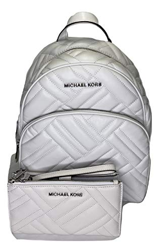 MICHAEL Michael Kors Abbey Quilted MD Backpack bundled with Michael Kors Peyton Double Zip Wallet/Wristlet (Optic White)