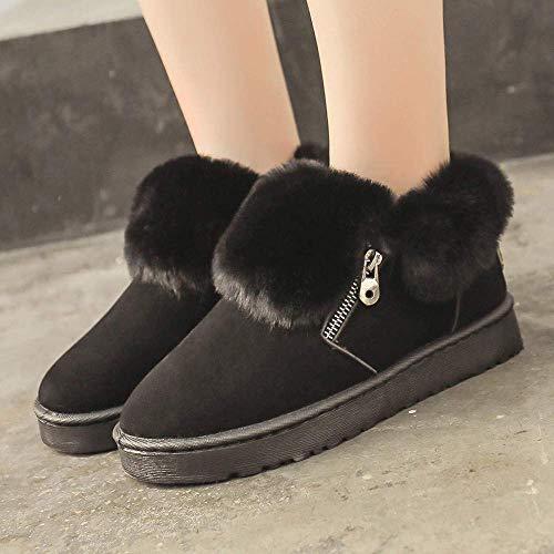 en cheville femmes chaussures noires la glissière fermeture cuir à métal bottes pour femmes une gardez douces Zhrui au sport à en chaud avec bottes le d'hiver pour qIFztxwR