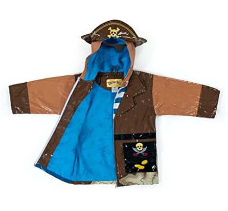 Quarterdeck Pirate Hat Kidorable Kidorable Pirate Brown PU All-Weather Raincoat for Boys w//Fun Treasure Chest Pocket