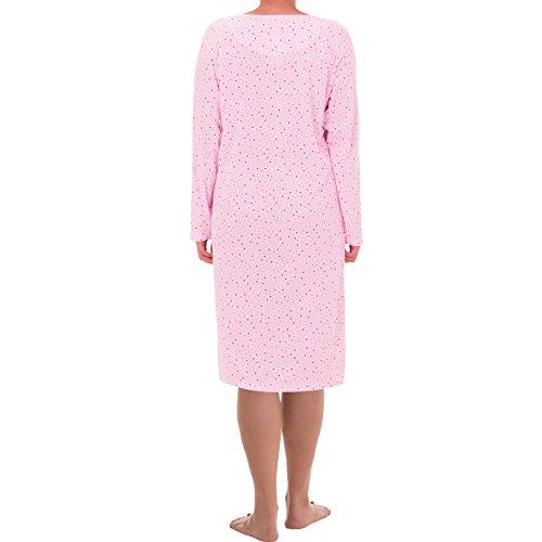 Zeitlos Damen Nachthemd Punkte Design (L, Rosa)