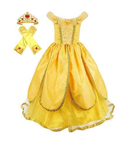 Princess Belle Beauty Beast Dress up Costume + Gloves + Tiara Crown Accessory Play-Set (7 Years, Bright Yellow)