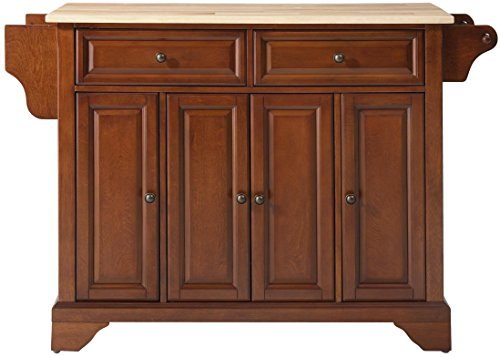 Crosley Furniture LaFayette Kitchen Island with Natural Wood Top - Classic Cherry - Lafayette Cherry