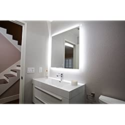 "San Jose Window Shade Co Backlit LED Bathroom Mirror w/Anti-Fog Surface (36"" x 36"") Large, Wall-Mounted Mirrored Vanity Crystal Clear Vision 