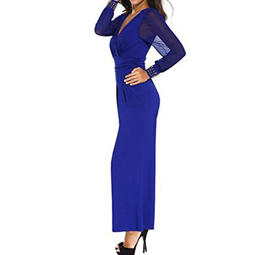 GERGER BO Mother's Day V-neck Lace Stitching Bell Pants Casual Jumpsuit Pants(Blue,L) (Bo Peep Wig)