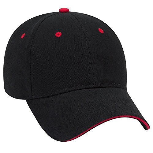 (OTTO Brushed Cotton Twill Sandwich Visor 6 Panel Low Profile Baseball Cap - Blk/Blk/Red)