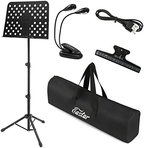 Tiger Easy Folding Sheet Music Stand with Bag Portable Folding Music Stand in Red
