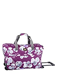 ELLE Wheeled Duffle Bag, Purple Print, International Carry-on