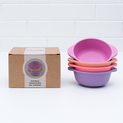 Bobo&Boo Bamboo Kids Snack Bowls, Set of 4 Bamboo Dishes, Non Toxic, Eco Friendly & Stackable Kids Snack Containers, Great Gift for Baby Showers, Birthdays & Preschool Graduations, Sunset (Baby Bobo)