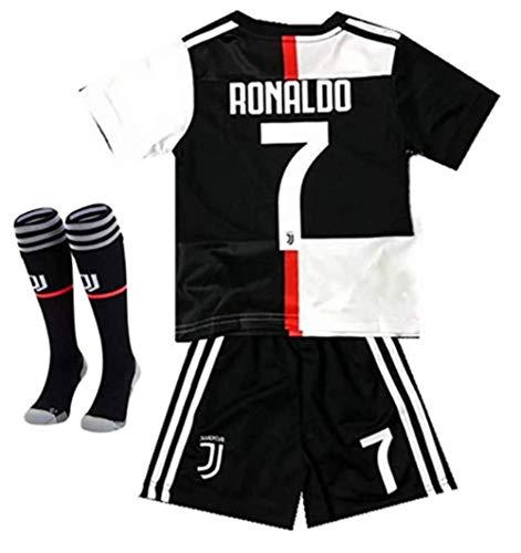 Juventus Home #7 Cristiano Ronaldo Kids/Youth Soccer Jersey & Shorts & Socks Black/White 2019-2020 Season Size 22