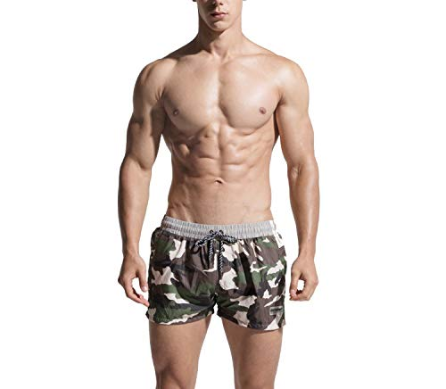 romantico Beach Shorts Mens Swimming Shorts Swimwear Quick Dry Bermuda Surf Boardshorts Men Swim Short Trunk,Gray,L