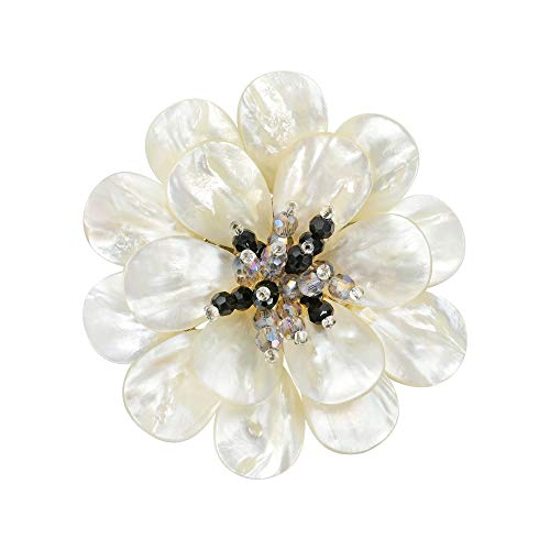 - AeraVida Stunning Mother Pearl & Fashion Crystal Flower Blossom Brooch Pin