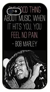 iPhone 4 / 4s Bob Marley Quotes - One good thing about music, when it hits you, you feel no pain - black plastic case / Inspirational and Motivational