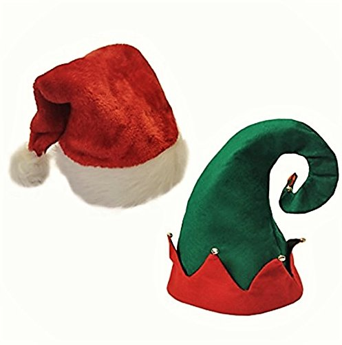 Funny-Christmas-Hats Winter Theme Headgear Set Of 2 For Teens & Adults. Best Costume Accessory Ideas For X-Mas Holiday Style, Fun Party At Home, Office, Outdoor Plays, Pageants (Pageants. Elf + Santa)