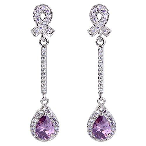 Chandelier Purple Earrings (EVER FAITH Women's CZ Elegant Ribbon Tear Drop Chandelier Dangle Earrings Purple Silver-Tone)