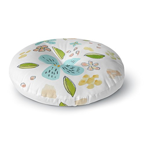 KESS InHouse Jennifer Rizzo Happy Flower Dance Blue Green Floral Round Floor Pillow, 26'' by Kess InHouse