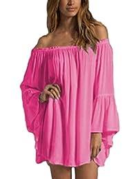 Women Summer Off Shoulder Ruffles Sleeve Tunic Dress Beachwear Plus Size