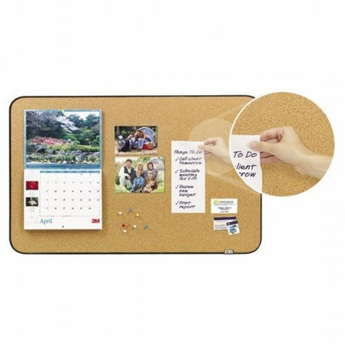 Post-it Sticky Cork Board, includes Command Fastners, 22 x 36-Inches, Black and Gray