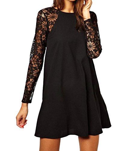 Sunnow Womens Autumn Long Sleeve Splicing Hollow Lace Swing Shift Shirt Dress (L, Black)