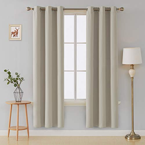 Deconovo Room Darkening Thermal Insulated Blackout Grommet Top Window Curtain Panels for Living Room Light Beige 42x84 Inch 1 Pair