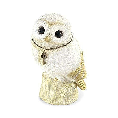 (Comolife Lucky Motif Piggy Bank , Cute Owl , Color: White And Gold , Natural Design )