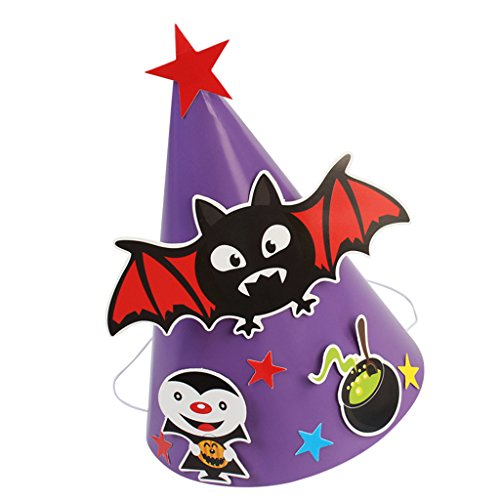 Jili Online Funny Halloween Paper DIY Cone Hat Cartoon Ghost Pumpkin Witch Bat Fancy Dress Costume Prop Toy for Children - Bat Purple -