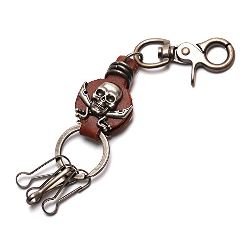 CHINOs Bros (TM) Elegant Skull Antique Design Leather Keychain Waist Key Holder Key Fob Key Chain Holder - Wallet Leather Bikers Holder