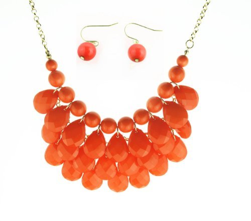 Bib Bubble Statement Necklace & Earrings Jewelry Set Inspired. - Fashion Jewelry - - Statement Necklace Orange