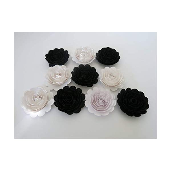 Classic Black and White Wedding Roses, 10 Paper Flowers, 3 Inch Blossoms, Modern Bridal Party Bridesmaid Bouquet DIY, Elegant Centerpiece