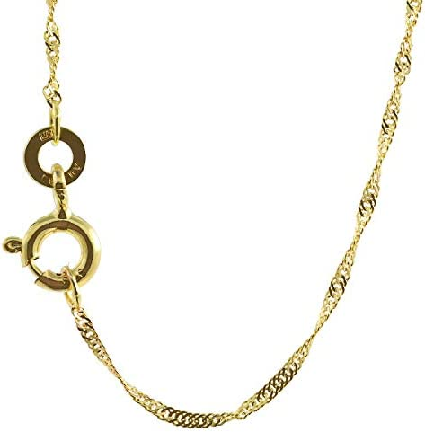 1,0 mm 60 cm 333-8 quilates Gelbgold Singapurkette masivamente de oro de alta calidad Halskette 1,0 g  6LAWbN