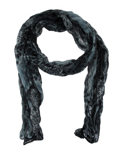 Black and Gray Snake Print Crinkle Scarf