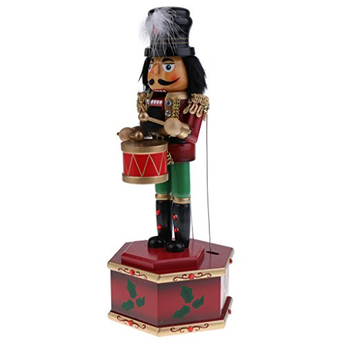 MonkeyJack 32cm Exquisite Painted Wooden Nutcracker Drummer Soldier Toy Wind Up Musical Box Home Christmas Decor Ornaments Xmas Gift (Toy Soldiers Christmas)